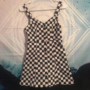 Checkered denim dress